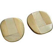 """Celia Sebiri"" Vintage Mother-of-Pearl & Faux Ivory/Bone Inlay Clip-Style Earrings"