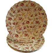 "Set of 4 Copeland Spode ""Rosebud Chintz"" Pattern Luncheon Plates"