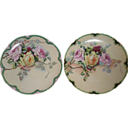Pair of Charles Haviland & Co., Hand Painted Cabinet Plates w/Multi-Colored Rose Blossoms Motif