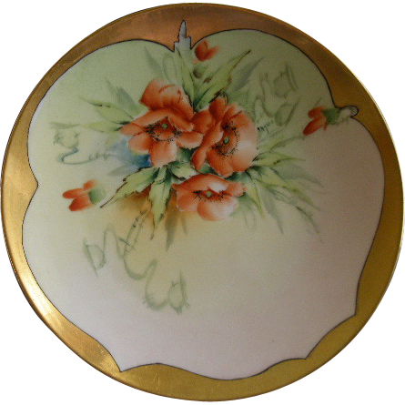 Bavaria Porcelain Hand Painted Cabinet Plate w/California Poppy Motif