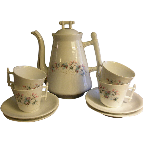 C Tielsch Floral Decorated Coffee Pot & 4 Cups/Saucers Set