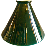 Emerald Green Cased White Glass Cone-Shape Lamp Shade
