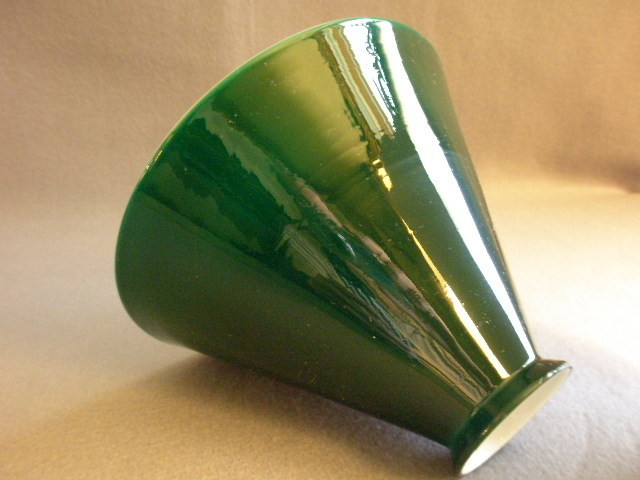 Emerald Green Cased White Glass Cone-Shape Lamp Shade from ...