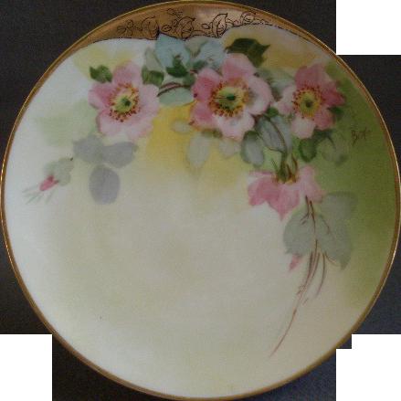 Julius H Brauer Studio H.P. Cabinet Plate w/PInk Wild Roses Motif