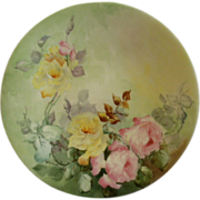 Jean Pouyat (JPL) Limoges Hand Painted Cabinet Plate w/Vivid Yellow & PInk Rose Motif