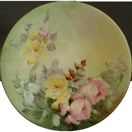 Jean Pouyat (JPL) Limoges Hand Painted Cabinet Plate w/Vivid Yellow & PInk Rose Motif