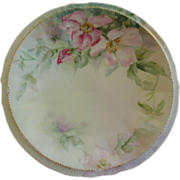 Elite Limoges Hand Painted Cabinet Plate w/Wild Roses Motif