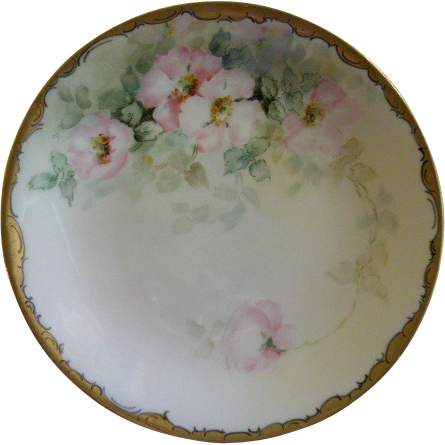 William Guerin Limoges Hand Painted Cabinet Plate w/Pink Wild Roses Motif