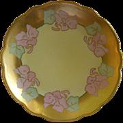M Z Austria Hand Painted 'Art Nouveau' Cabinet Plate w/Pink Pansy Motif