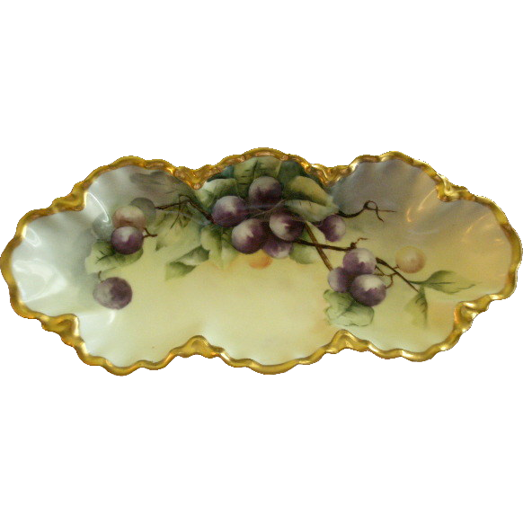 Charles Haviland & Co. Hand Painted Celery/Relish Tray w/Purple Plum Decoration