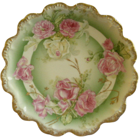 Coronet Limoges Cabinet Plate w/Transfer Tea Roses Decoration
