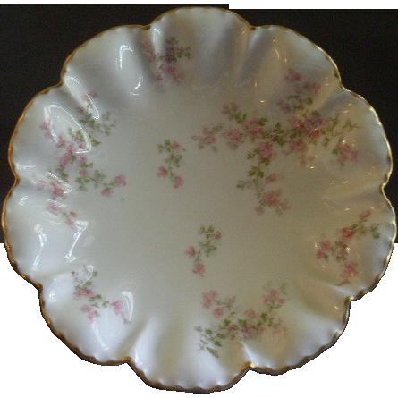 "Charles Haviland & Co., Limoges ""Wild Rose Motif"" Round Flared Serving Bowl, Schleiger 29A, Blank #2"