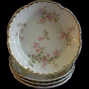 """Set of 4 Charles Haviland & Co., Limoges """"Wild Rose Motif"""" Fruit/Sauce Dishes, Schleiger 29A, Blank 2"""