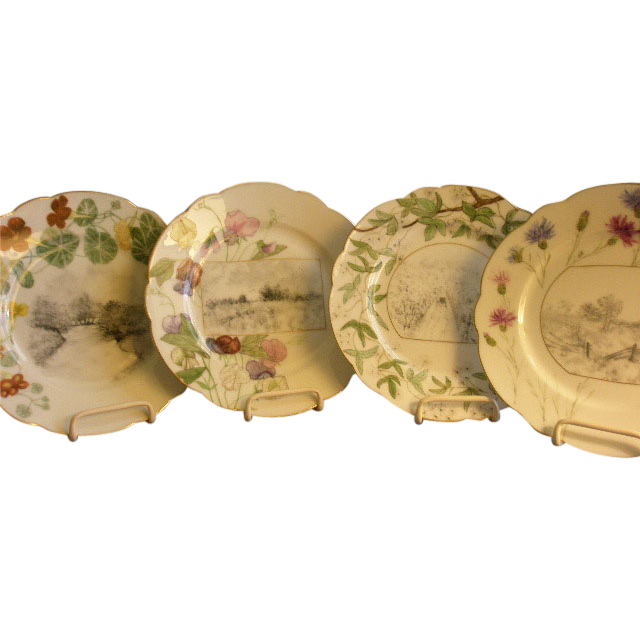 Set of 4 Charles Haviland & Co., Limoges Hand Painted Cabinet Plates w/Floral/Scenic Motifs