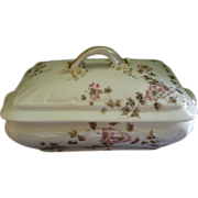 CFH/GDM Limoges Rectangular Covered Vegetable Tureen w/Passion Flower Blossoms & Vines Motif