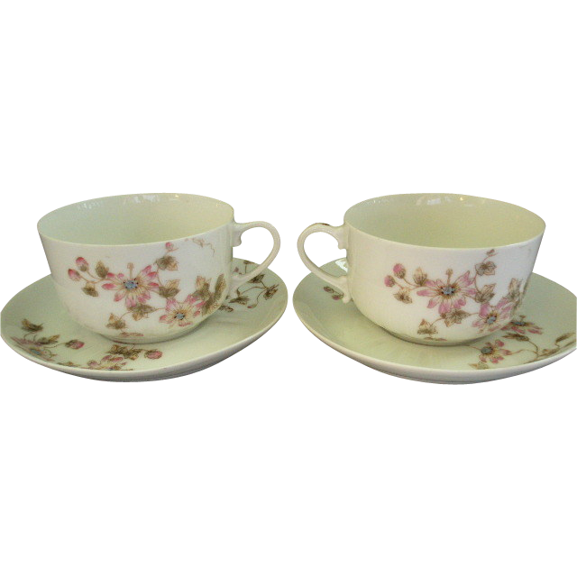 CFH/GDM Limoges Set of 2 Cups & Saucers w/Passion Flower Blossoms & Vines Motif