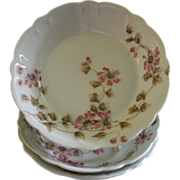 CFH/GDM Limoges Set of 3 Large Fruit/Condiment Bowls w/Passion Flower Blossoms & Vines Motif