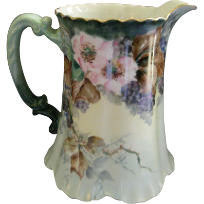 Charles Haviland & Co., Limoges H.P. Milk/Water Pitcher w/Blackberry Fruit, Blossoms & Foliage - Schleiger Blank #12