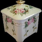 Bernardaud Limoges Hand Painted Dresser/Vanity Covered Box w/Rose Blossom Motif