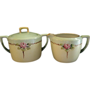 MZ Austria Hand Painted Sugar & Creamer Set w/Pink Rose Motif