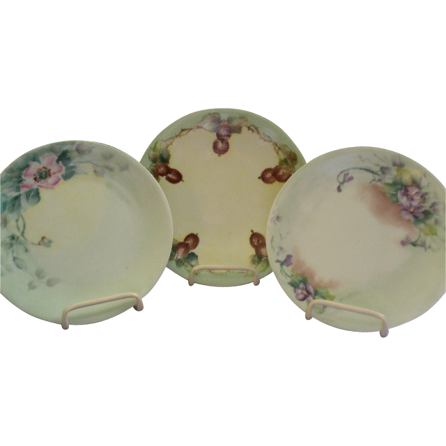 Group of 3 Hand Painted Porcelain Plates w/Floral or Fruit Motifs