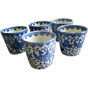 "Japan Blue & White Porcelain 'Phoenix' or ""Flying Turkey"" Set of 5 Juice or Wine Glasses"