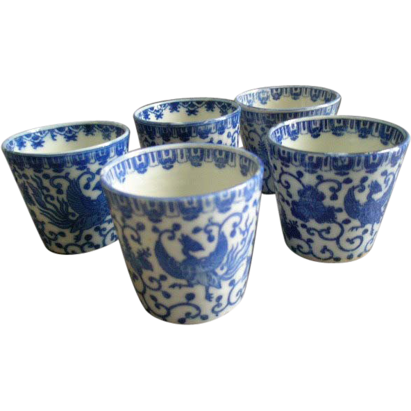 "Japan Blue & White Porcelain 'Phoenix' or ""Flying Turkey"" Set of 5 Juice or Wine Glasses"