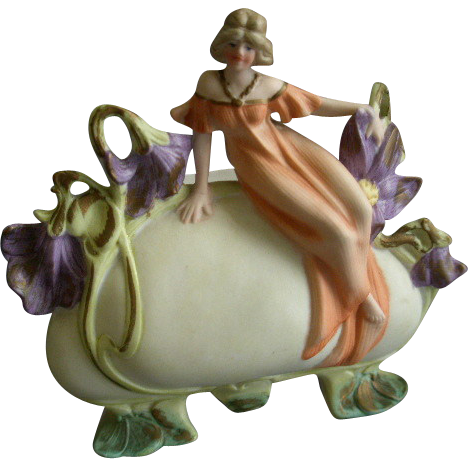 Art Nouveau Style Bisque Pillow Vase w/Figural Lady & Floral Decoration