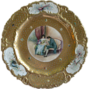 Doulton Hand Painted Cabinet Plate w/French Courting Scene & Cartouches