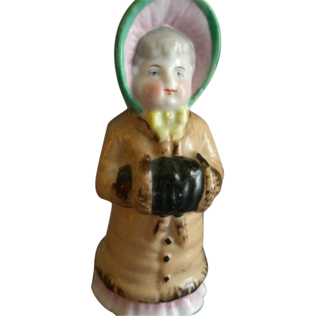 China Victorian-Style 'Young Girl' Figural Talc/ Sugar Shaker/Muffineer