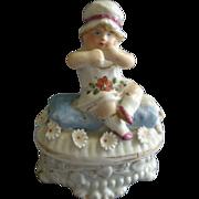 Victorian Fairings Ring Box w/Girl Child Figural Lid