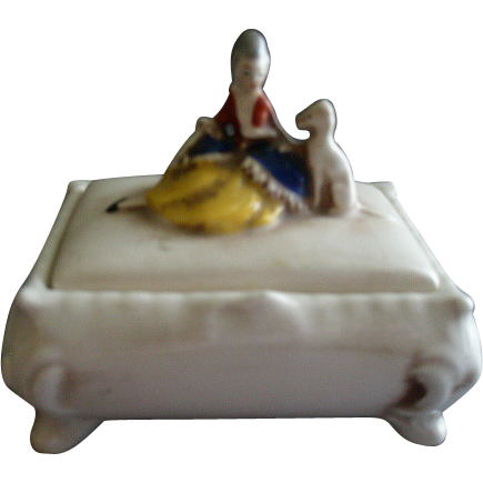 Porcelain Covered Jewelry/Trinket Box w/Figural Victorian Lady & Dog on Lid