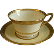 Set of 4 Royal Worcester Gold Encrusted 'Diana' Pattern Cups & Saucers - Burley & Co. Chicago