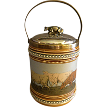 Villeroy & Boch Mettlach Biscuit Barrel w/Incised Cows Decoration.
