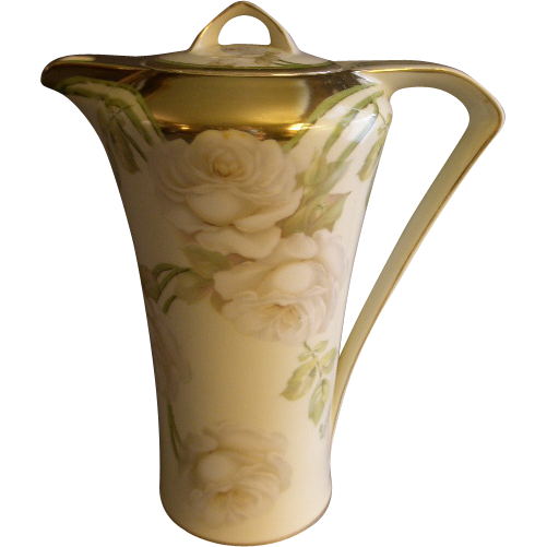 R.S. Germany (Green Mark) Hot Chocolate Pitcher w/Roses Decoration