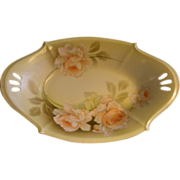 R.S. Silesia (Green Mark) Flared Oval Candy/Nut Bowl w/Roses Decoration