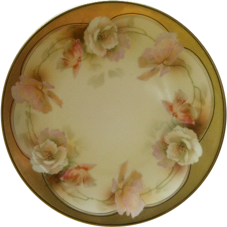R.S. Germany (Blue Mark) Cabinet Plate w/Multi-Colored Poppies Decoration