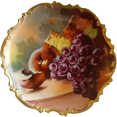 Lazeyras, Rosenfeld & Lehman Limoges Hand Painted Fruit Plate w/Grapes, Peaches & Fall Foliage