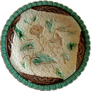 Victorian Majolica Plate w/Basket-weave & Morning Glory Floral Motif