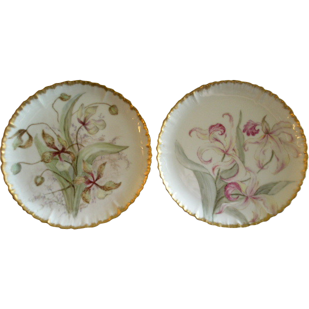 Pair of CFH/GDM Limoges Hand Painted Cabinet Plates w/Orchid Floral Motif