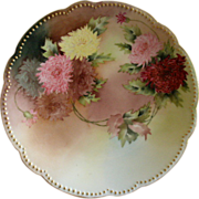 D & C France Hand Painted Cabinet Plate w/Multi-Colored Chrysanthemum Blossoms Decoration