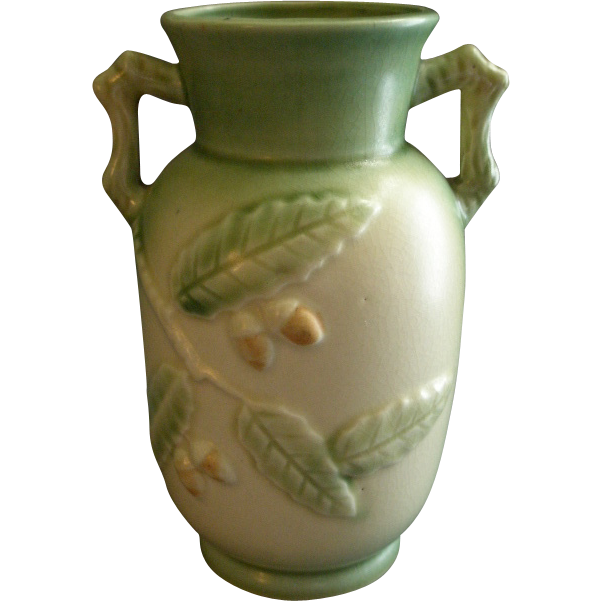 Unmarked Art Pottery Vase w/Embossed Leaves & Nuts Decoration