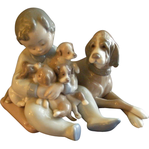 "Lladro ""New Playmates"" Porcelain Sculpture #5456"