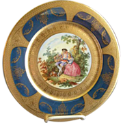 Royal Vienna Style Transfer & H.P. Cabinet Plate w/Cobalt & Gold Encrusted Border (Plate 2 of 6)