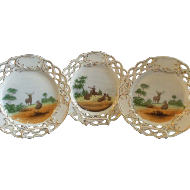 Set of 3 Porcelain Game Plates w/Transfer Motif of Deer in a Meadow