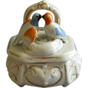 Victorian Fairing Ring Box w/Pair of Pigeons & Nest Figural Lid