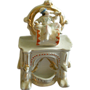 Victorian Fairing Ring Box w/Boy Sitting Astride A Large Drum Figural Lid