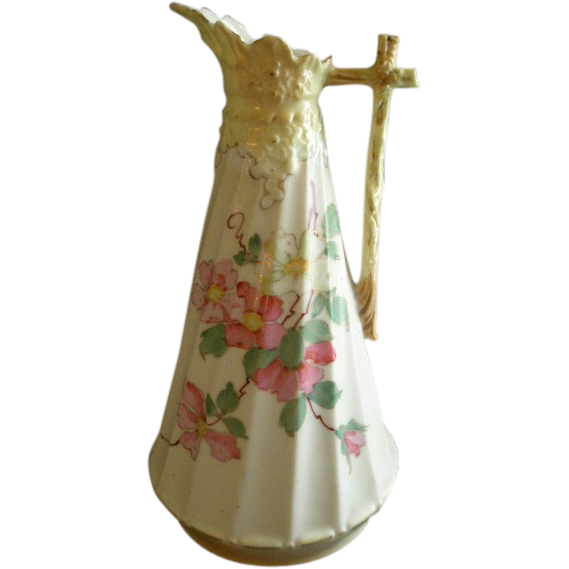 German/Austria Porcelain Hand Painted Ewer w/Floral & Embossed Motif