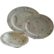 "Theodore Haviland, New York, ""Pink Spray"" Pattern - Two Oval Platters & Oval Serving Bowl"