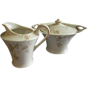 "Theodore Haviland, New York, ""Pink Spray"" Pattern - Sugar Bowl & Cream Pitcher Set"